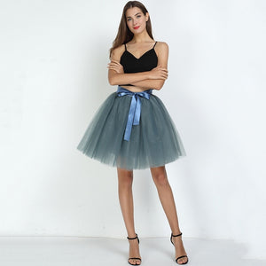 Skirts Womens 7 Layers Midi Tulle Skirt Fashion Tutu Skirts Women Ball Gown Party Petticoat 2019 Lolita Faldas Saia