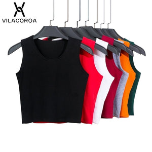 7 Color Round Neck Harajuku T Shirt Women Sleeveless High Waist Crop Top Cotton Tee Tops TShirt