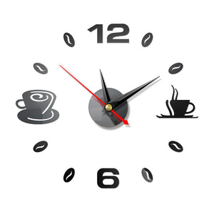 Home 3D Mirror Wall Clock Self Adhesive Modern Mute Acrylic Art Analog Kitchen DIY Coffee Cups Decor Waterproof