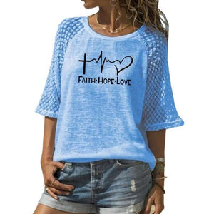 New Faith Hope Love Letters Print T-Shirt For Women Lace Crew Neck T-Shirt Top T-Shirt Women Tops