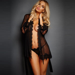 Wontive Lingerie Women Sleepwear Lace Underwear Clothes Babydoll Transparent Dress Black