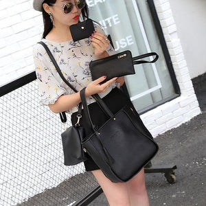4PCS Handbag Set Women PU Leather Shoulder Bag A435