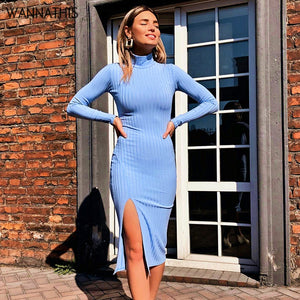 WannaThis Sexy Knee-Length Party Dresses Cotton Ribbed Knitted Turtleneck Solid Split Long Sleeve