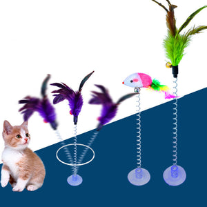 1PC 2 Types Funny Cat Toys Elastic Feather False Mouse Spring Sucker Toys for Cat Playing Pet Toy