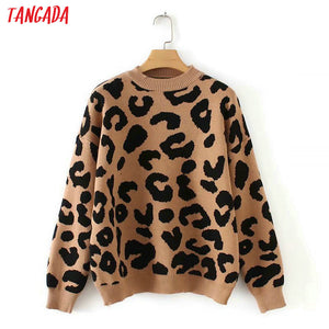 Tangada women leopard knitted sweater winter animal print winter thick long sleeve female