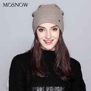 Warm Beanie 2019 Fashion Autumn Hats For Women Winter Brand New Lattice Cotton Knitted Hat Female