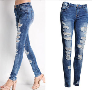 New Blue Jeans Pancil Pants Women High Waist Slim Hole Ripped Denim Jeans Casual Stretch Trousers