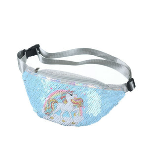 Sequins Printing Unicorn Sequin Fashion Waist Bag Fanny Pack Children Cartoon Chest Bag Outdoor
