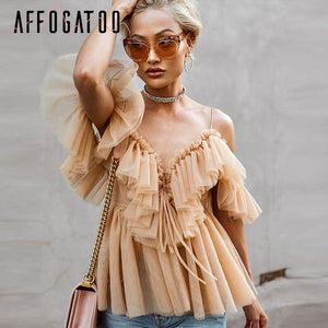Affogatoo Sexy v neck off shoulder peplum blouse top Women Pleated vintage ruffle mesh blouse