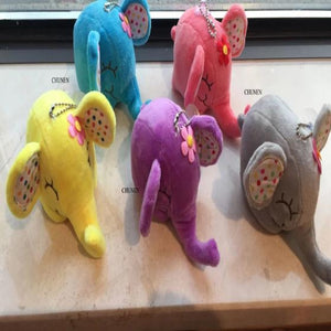 Middle 12CM , 5Colors - Cute Elephant Stuffed Animal Plush Toys , Small Kid's Key chain toys dolls