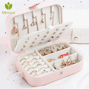 Korean Style Fresh And Simple Girl Earrings Plate Jewelry Box Protable Leather Earrings Ring