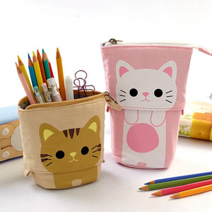 Cartoon Pencil Case Box Cute Telescopic Pencil Bag Stationery Box Portable Cosmetic Brush Bag Travel