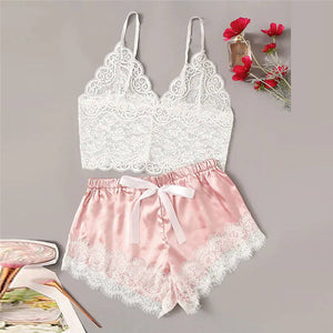 Women Sexy Bra Set Ladies Sexy Lace Comfortable Polyester Sleepwear Underwear Tops Briefs Sets