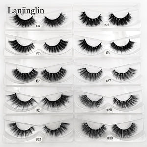 LANJINGLIN 1 pair 3d mink eyelashes makeup natural long false lashes fluffy mink fake eyelashes