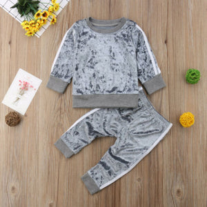 2019 Autumn Winter Velvet Kids Baby Girls Clothes Sets Solid Long Sleeve T-shirt Tops + Pants 2PCS