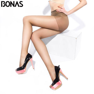 BONAS 20D Sexy Breathable Tights Women High waist Sun Protection Pantyhose T crotch Nylon Tights