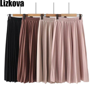 Spring Summer Women High Waist Skirt Solid Color Pleated Skirt Women Causal Midi Skirts