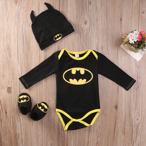 Pudcoco Fashion Boy Jumpsuits Newborn Baby Boy Girl Clothes Batman Rompers+Shoes+Hat Costumes 3Pcs