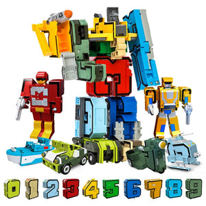 10Pcs Creative Assembling Educational Blocks Action Figure Number Transformation Robot Deform Plane Car Gift Toys for Children