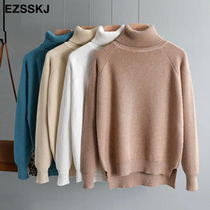 New casual thick Autumn Winter turtleneck oversize Sweater Pullover Women warm chic female loose