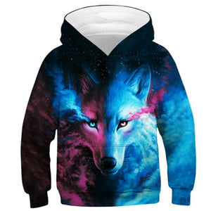 Wolf 3D Print Boys Girls Hoodies Teens Spring Autumn Outerwear Kids Hooded Sweatshirt Clothes
