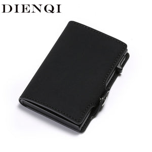 DIENQI New Antitheft Card Holder Leather Men Women Anti-magnetic Bank Credit Card Holder