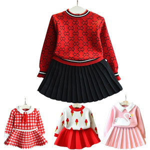 Baby girl clothes new female baby sweater set children's plaid printing knit suit sweater girls warm