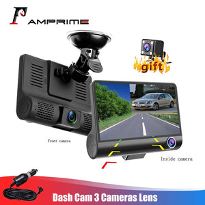 AMPrime 4'' Three Way Car DVR FHD Three Lens Video Recorder Camera 170 Wide Angle Dash Cam