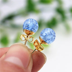 new fashion brand jewery elegant double imitation pearl stud earrings for women cute opal beads ball