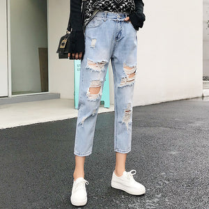 Ripped Jeans For Women Blue Loose Vintage Female Fashion Women High Waist New Style Baggy Mom