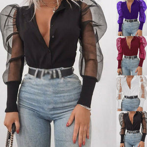 arrival New 2019 Women's V-Neck Shirt Tulle Ruffle Long Puff Sleeve Shirt Solid Lady Shirts