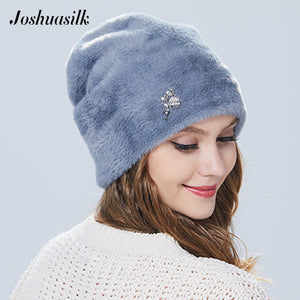 Joshuasilk winter woman hat Faux fur and angora rabbits Soft and delicate Pendant decoration fashion