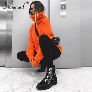 Simenual Knitwear Turtleneck Autumn Winter Sweaters Women Neon Color Long Sleeve Jumpers Fashion