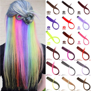 MUMUPI Long Straight color Hair Piece Hair Extensions Clip In Highlight Rainbow Hair Streak Pink