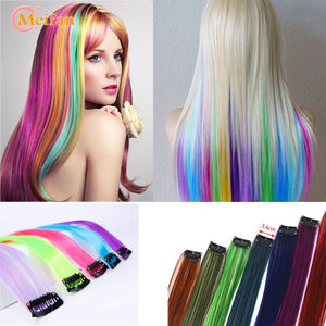 MEIFAN long Straight Color Hair Clip in One Piece Hair Extensions Highlight Rainbow Hair Streak Pink