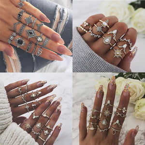 24 Design Gold Color Vintage Rings Set For Women BOHO Charm Knuckle Finger Ring Female Party Fashion Jewelry 2019 Drop Shipping