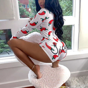 Style Chili Printed Short Jumpsuits Long Sleeve Casual V-neck Bodycon Romper Slim Stretch Sexy Autumn