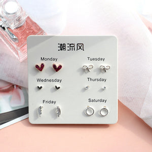 6 Pairs/set, 2019 New Earrings for Women Stars Heart Crytal Cute Earrings Fashion Jewelry Monday