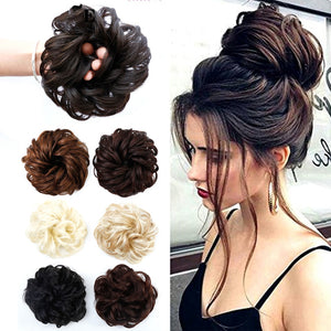 BUQI Curly Scrunchie Chignon Rubber Band Blonde Synthetic Hair Ring Wrap For Hair Bun Ponytails Heat
