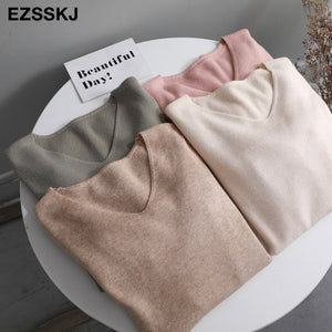 chic casual Autumn Winter Basic Sweater pullovers Women v-neck Solid Knit Slim Pullover female