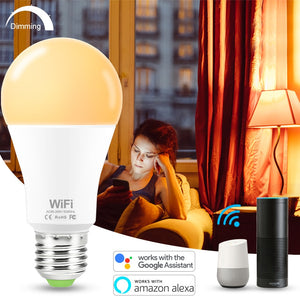 15W E27 Smart LED Bulb WIFI Control Equal to 100W Incandescent Lamp Warm or Cool White Light