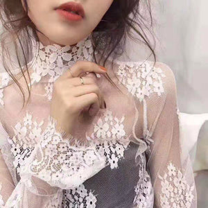 Spring Summer Women Lace Blouses Shirt Women Ruffled Tops Sexy Mesh Blouses See-through Long Sleeve Black Dot Star Shirt Blouse