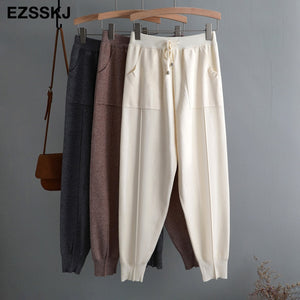 chic autumn winter Drawstring Harem Pants Women Loose Trousers female Knitted Pants knit Trousers
