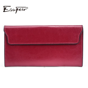 ESUFEIR Brand 2019 Fashion Genuine Leather Women Wallet Long Cowhide Multiple Cards Holder Clutch