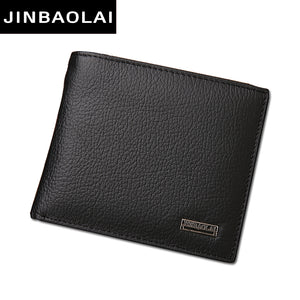 Luxury 100% Genuine Leather Wallets Fashion Short Bifold Men Wallet Casual Soild Wallet Men With