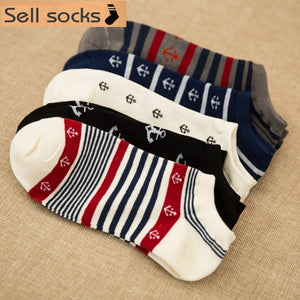 Clearance! new summer Stripes Sailor anchor man Casual ankle cotton socks men boat sock slippers