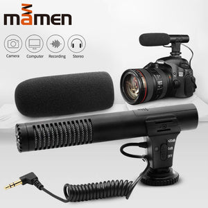 MAMEN 3.5mm Audio Plug Professional Camera Recording Microphone For Camera DSLR Digital Video