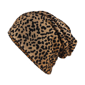 miaoxi Top Fashion Women Hat Striped Female Beanies Skullies Casual Polyester Leopard Scarf Cap