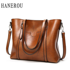 Women Casual Bag Oil wax Women's Leather Handbags Luxury Lady Hand Bags Female messenger bag High Quality Big Tote Sac Bols