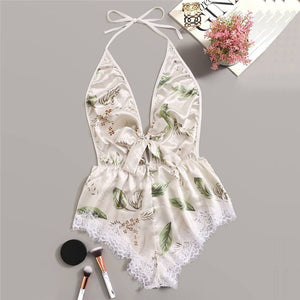 Lingerie Sexy Bra Siamese Set Women Printing Lace Stain Bow Lingerie Bodysuit Backless Pajamas